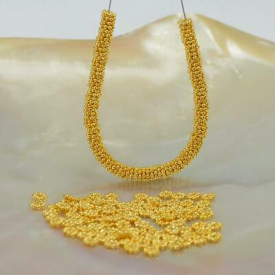 Lot 100 Daisy Bali Spacer 3.5mm Beads 4.45 g Gold Vermeil 24K on Sterling Silver