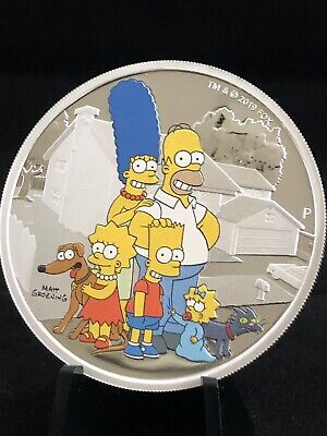 2019 TUVALU 2oz .9999 SILVER THE SIMPSONS FAMILY PROOF COIN WITH MINT BOX & COA
