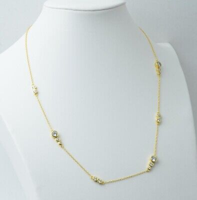 Women 14K Yellow Gold Over Sterling Silver White Round Diamond Station Necklace