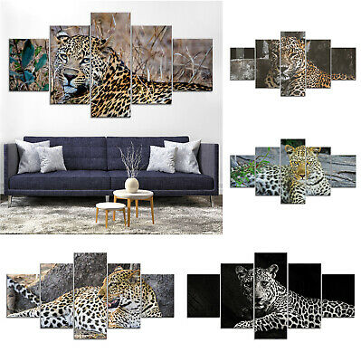 Leopard Wild Animal Canvas Print Painting Framed Home Decor Wall Art Poster 5Pcs