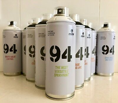 MTN 94 Montana Colors BLACK & WHITE Spray Paint Pack SPECIAL!  12 CANS FREE POST