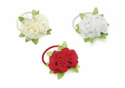 Double Flower Rose Hair Band Elastic Pony Tail Hairband Red White, Ivory Bridal