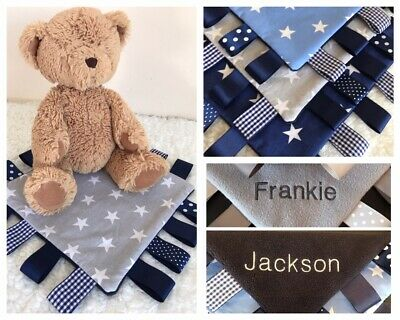 Handmade Taggy Blanket/Comforter... Boys...Stars.. with or without Name...NEW