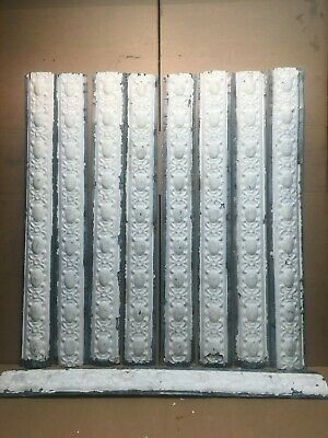 """9pc Lot of 36"""" by 4"""" Antique Ceiling Tin Vintage Reclaimed Salvage Art Craft"""