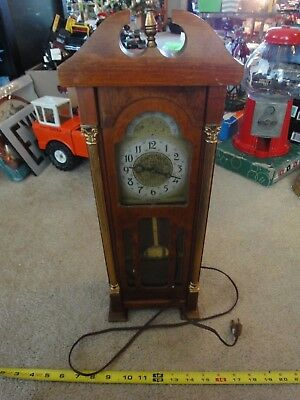 Vintage United Clock corp. Miniature grandfather, pendulum clock. Works! Nice!