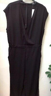 7c23be74f91 UNIQLO Black Crepe Wrap Front Jumpsuit Wide Leg Pocket Elastic Waist BNWT  Size L