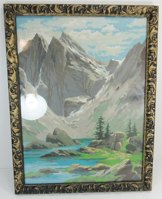 "VINTAGE FRAMED PAINT BY NUMBERS MOUNTAIN LANDSCAPE 17 3/4"" x 13 5/8"""