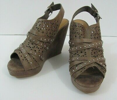 1922e094c7b5 Not Rated Women  Brown Platform Sandals Open Toe Wedges Size 9 Buckle Strap  NEW