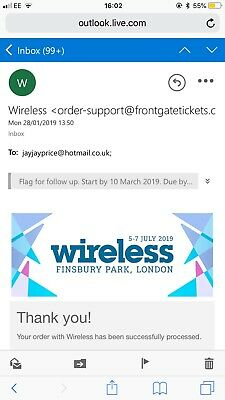 2 X Wireless Festival Ticket 2019 (Friday&Saturday) ONLY £250 EACH