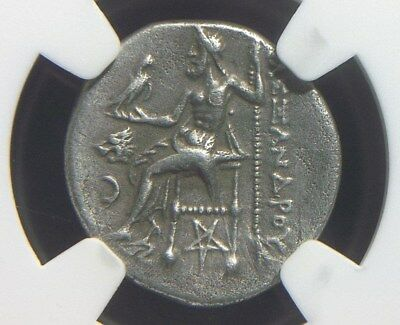 Silver Drachm of Alexander III the Great,  Reverse Pentagram   NGC Ch VF  9001