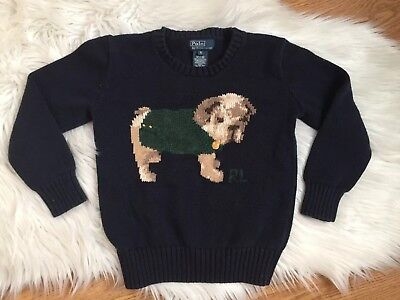 VTG POLO RALPH LAUREN size 5 boys PUPPY DOG LONG SLEEVE SWEATER