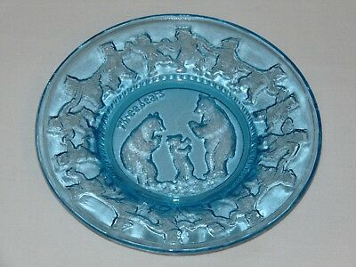 Vintage Antique Blue Depression Glass Childs Plate The Three Bears