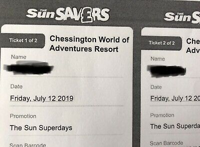 2x Tickets to Chessington World Of Adventures Resort , Friday 12th July 2019