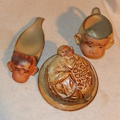 3 Pc Set Vintage UCTCI Pottery MONKEY Cup CHEESE Butter Dish Spoon Rest RARE