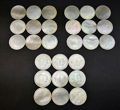 27 ANTIQUE 19thC CHINESE MOTHER OF PEARL CARVED CIRCULAR GAMING COUNTERS TOKENS