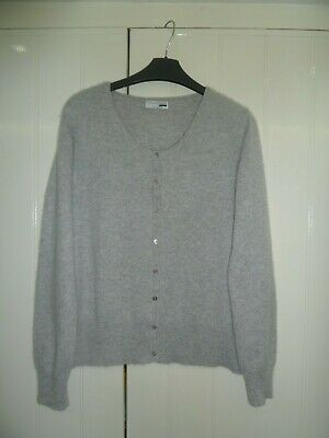 Ladies Light Grey 100% Cashmere Cardigan by George Size 18