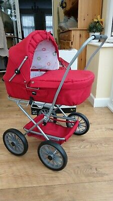 Brio Doll's Pram Buggy, Doll Carriage, Red Colour for Children & Toddlers