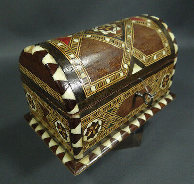 Early MOORISH/SPANISH Casket Jewelry Case Box Mosaics Inlaid Marquetry Tunbridge