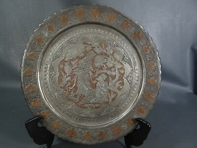 Antique Persian silverplated Mamluk Copper Wall Dish Platter Tray Cairoware Arab