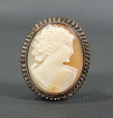 Victorian Antique Cameo Sea-Shell Lady Pin Brooch Pendant Silver Case Fob Locket