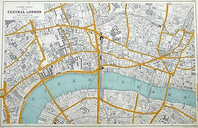 """CENTRAL LONDON, 1912  -  Original Antique Map, scale = 9"""" to a mile , Bacon."""