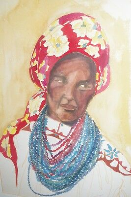 VINTAGE Lucy Depino Sepino 1980 African American Lady Turban Print Framed Art