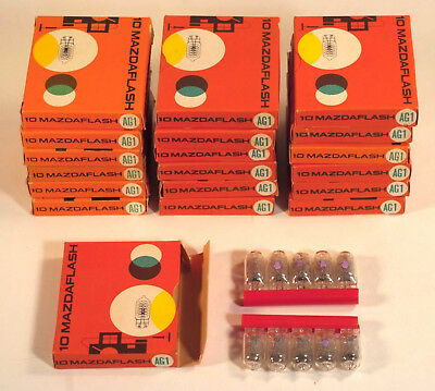 19 boîtes, 190 ampoules flash AG1 MAZDAFLASH CLAIRES - Clear flashbulbs