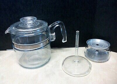 Vintage 6 cup Pyrex Clear Glass Coffee Pot Percolator Stove top 7756B Complete