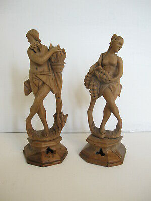 Rare Pair Fine Baroque Lime Wood  Carvings Classical Figures 18Th -19Th Century