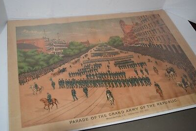 "Antique 19th Cent. Lithograph ""Parade of the Grand Army of the Republic"" 1892"