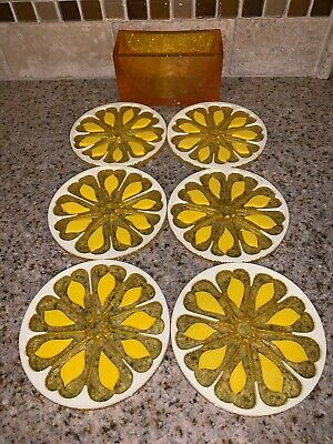 Vtg Lucite Coasters Colorflo Retro Mod Yellow Lemon  Set of 6 1960s 70s #0948