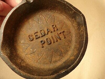 Antique / Vintage Cedar Point Amusement Park Souvenir Cast Iron Pan Ashtray