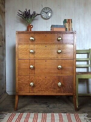 Vintage 1930's Art Deco Solid Oak Tall Chest Of Drawers