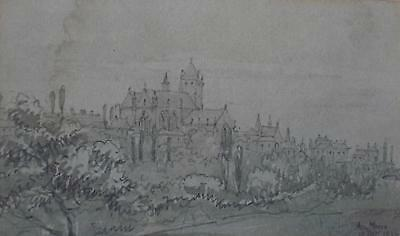Castellated Town en grisaille Watercolour Sketch Indistinctly Signed/Dated c1900