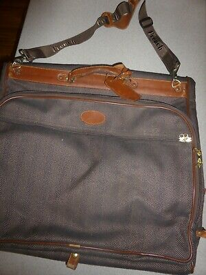 1e7942ac69dd VINTAGE French Luggage Co Pinstripe Tapestry Garment Bag Suitcase Leather  Trim