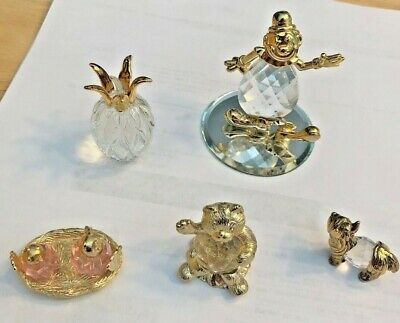 Glass Crystal & Gold Plated Fiqurines Collection Of Five Pieces
