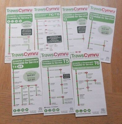 TRAWSCYMRU - 7 x Express bus timetables CURRENT OCTOBER 2018 issues