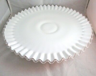 Fenton Art Glass Silver Crest Vintage White Milk Ruffled Low Footed Cake Plate