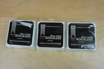 Lot of 3 Slides silver label microslides frosted microscope slides