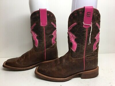 ab72caf0069 ROPER GIRLS SIZE 1 Inlay Square Toe Cowboy Boots Brown Leather ...