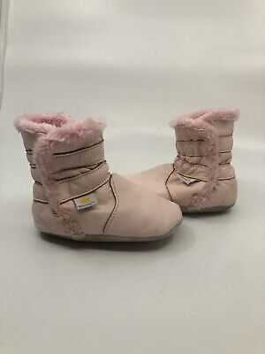b3a19c580125 Baby Ministar Bobux Faux Fur Lined Soft Sole Leather Boots Pink 12-18 Months