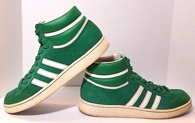 01b93b1611 ADIDAS Originals Americana Mens 12 Suede Hi Top Sneakers Green & White 2008  EUC