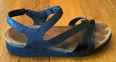 3eee1e0e5d10 NAOT Kayla black leather adjustable ankle strap wedge sandals 10-10.5 Euro  41.