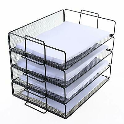 4-Tier Stackable Paper Trays Metal Mesh Office File Organizer Paper Letter Trays