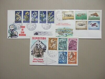 Three old,thematic San Marino fdc:1X 1957,2X 1962:Mountain Everest,History Aviat