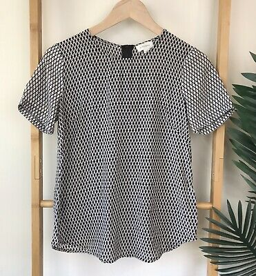 6bc711f1ade9f Witchery Black Print Silk Blend Blouse Top Size 6 Short Sleeve Work Casual  Women