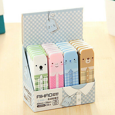 3 BOX (60pcs) Cute Bear 2B Lead Refills Tube 0.5mm Case Mechanical Pencils  UQ