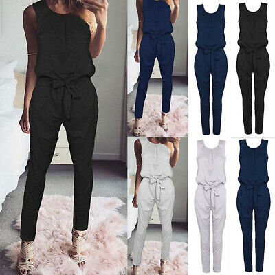 Women Clubwear Sleeveless Playsuit Bodycon Party Jumpsuit Romper Trousers Pants