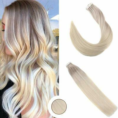 Ugeat 8A 20pcs PU Tape in Straight Human Hair Extensions Platinum Blonde 60# 50g