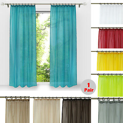 2 Panels Voile Sheer Curtains Pull Pleated 145W x 243cm Window Tulle 11 Colors